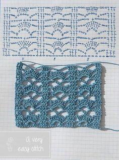 Leuk patroon om sjaal te haken. Ik heb hem zelf al gebruikt.
