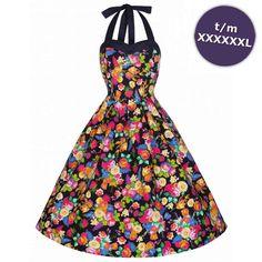 Swing Carola jurk met pop art bloemen print multicolours/zwart - Vintage, 50's, Rockabilly