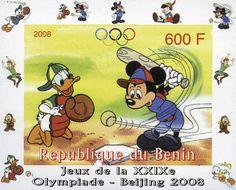 BENIN Benin, 2008 Hoja Recuerdo imperforada conmemorando los Juegos Olímpicos de Beijing, con la imagen de Mickey Mouse bateando. Esta pieza es una emisión ilegal.
