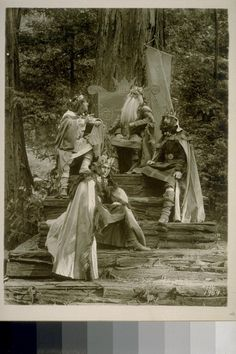 Photo of the ultra-exclusive Bohemian Grove play, CA 1906-1909.