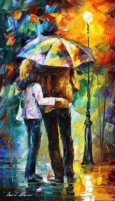 Bonded By Rain Painting by Leonid Afremov - Bonded By Rain Fine Art Prints and Posters for Sale
