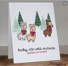 Lawn Fawn Video A Cute Winter Alpaca Card by Nichol! Christmas Puns, Christmas Card Sayings, Funny Christmas Cards, Christmas Crafts, Christmas Ecards, Star Wars Christmas Cards, Holiday Meme, Holiday Cards, Lawn Fawn Stamps