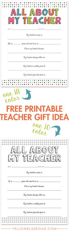 About My Teacher Free Printable Free Printable Teacher Gift Idea - Great for a class gift too!Free Printable Teacher Gift Idea - Great for a class gift too! Teacher Thank You, Teacher Name, Your Teacher, School Teacher, Teacher Stuff, Daycare Teacher Gifts, Kindergarten Teacher Gifts, Thank You Teacher Gifts, Teacher Retirement