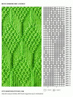 Moss Diamond and Lozenge knit stitch pattern - This site has many knitting stitches that are made using only knit and purl stitches.(Updated June Moss Diamond and Lozenge stitch is reversible and looks the same on either side. A nice pattern for maki