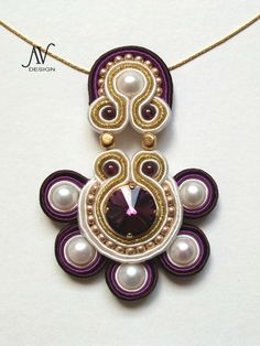 Soutache bead embroidery pendant--beautiful