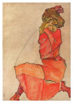 Egon Schiele( 1890 – was an Austrian painter. A protégé of Gustav Klimt, . Kneeling girl in a red dress Gustav Klimt, Egon Schiele Zeichnungen, Canvas Art, Canvas Prints, Art Prints, Egon Schiele Drawings, Australian Painters, Art Moderne, Figurative Art