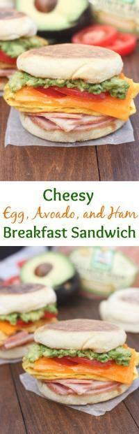 Cheesy Egg Avocado and Ham Breakfast Sandwich on MyRecipeMagic.com ...
