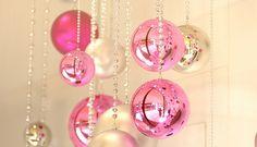 Christmas ornaments. Would make a cute photo backdrop.