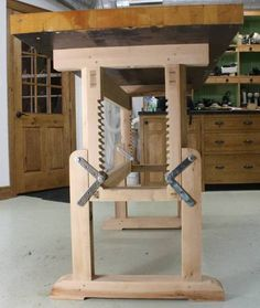 New Woodworking Bench (Parts I & II of II)  Adjustable height legs.  Idea for leveling at shows?