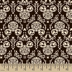 NEW & AWESOME!! Disney Mickey Mouse Black & White Damask Fabric by HALF YARD #SpringsCreativeProducts
