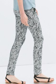 Leaves Printing Mid Waist Trousers