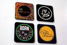 #GABAMBO Tables are scared of commitment. Use these coasters to keep them away from rings!  Coasters with Inspirational quotes.  Available at www.gabambo.com