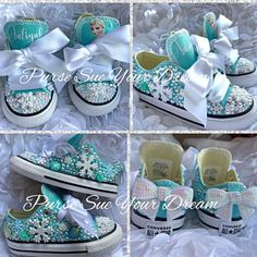 Frozen Inspired Custom Converse Shoes - Frozen Birthday - Frozen Shoes - Frozen Outfit - Mommy and Me Shoes - Personalized Shoes Elsa Olaf, Olaf Frozen, Anna Y Elsa, Rhinestone Converse, Bling Converse, Bling Shoes, Custom Converse Shoes, Converse Wedding Shoes, Custom Design Shoes