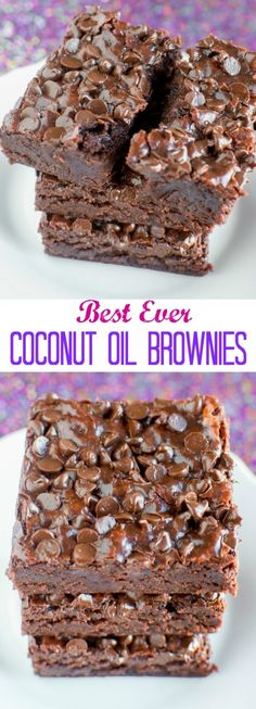 BEST Fudgy Coconut Oil Brownies - no eggs, no butter!