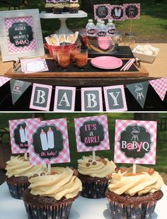 Girl Baby Q Decorations Package baby shower pink by BusyChickadees...except I hate baked beans