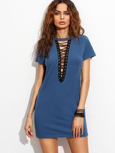 Online shopping for Royal Blue Lace Up Front Short Sleeve Sheath Dress from a great selection of women's fashion clothing & more at MakeMeChic.COM.