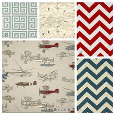 4 piece crib bedding set in vintage airplanes including colors red, denim, brown. on Etsy, $135.00