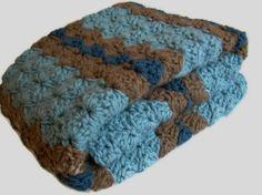 Crochet Blue Brown Baby Blanket Blues and Brown by Jadescloset