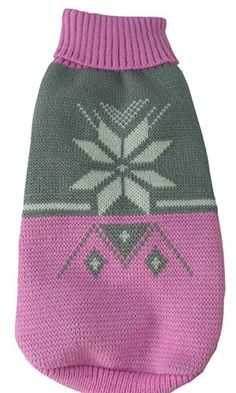 Snow Flake Cable-Knit Ribbed Fashion Turtle Neck Dog Sweater, Pink and Grey, SM *** You can get additional details at the image link.