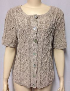 Chico's 2 Sweater Beige Gold Metallic Cable Knit S/S Pearl Buttons Cardigan Top #Chicos #Cardigan