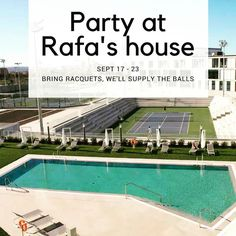 Let's party!  One stop shop at Rafa's September 17 - 23.  Training  matchplay international players  accommodation  paradise by the sea.  #tennis lovers only ;) #costadeltennis #mallorca #spain #barcelona #rafa #rafanadal #adults #adults #adultsonly #internationalplayers #tennislife #tennislove #tennislifestyle #lifestyleblogger #lifestyle