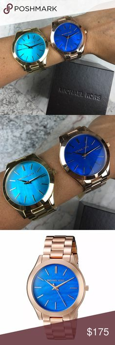 Michael Kors mother of pearl blue watch - YOU PICK Both of these watches are brand new with $195 tags and come in the original Michael Kors watch box with authenticity/warranty booklet and they are both absolutely authentic. The face of the watch is super