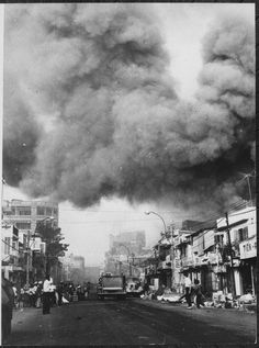 Fire trucks trying to put out fires in Saigon from the Tet Offensive