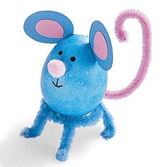 Mouse Egg; dyed hard-boiled egg or plastic if for a kid; a cute pipe cleaner stand, and hot-glued-on details (paper ears, pom-pom nose)