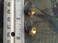 Hawkeye gold Crystal  Leverback earring - 2 inches