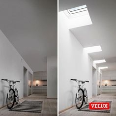 Brighten up a dull hallway. The VELUX CFP domed flat roof window has it all - excellent thermal insulation and sound proofing, weatherproofing, durability, and improved security. Luz Natural, Natural Light, Skylight Covering, Flat Roof Repair, Innovation, Steel Roofing, Roofing Shingles, Tin Roofing, Modern Roofing