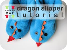 Slippers for everyone! Tutorial by Rae: Dragon Slippers Sewing Projects For Kids, Sewing For Kids, Baby Sewing, Free Sewing, Sewing Patterns Free, Sewing Tutorials, Free Pattern, Sewing Ideas, Fleece Projects