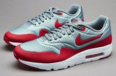 3347150349b8fa Nike Air Max 1 Ultra Moire Mens Shoes Metallic Cool Grey Grey Red White