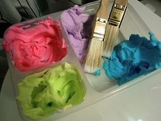 Queen of the Jumble, kids bath paints using shaving cream and food coloring, all supplies from the dollar tree!