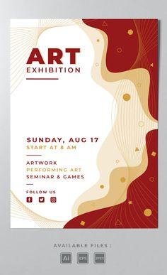 Art Exhibition Poster Template AI, EPS Art Exhibition Posters, Poster Templates, Letters, Artwork, Work Of Art, Auguste Rodin Artwork, Letter, Artworks, Lettering