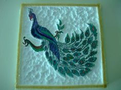 No clue. That's what I have. What the heck is thermacol anyway, and I'm sure MY peacock cannot be free hand. Still, isnt' this a neat wall hanging idea?  It could be really large for that huge wall with nothing on it, and it doesn't have to be a peacock - what about a family crest or coat or arms? I have enough framed photos. I need this wall hanging with thermocol. Family Crest, Hobbies And Crafts, Creative Inspiration, Home Art, Diy Home Decor, Diy Crafts, Activities, Drawings, Frame