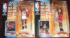 1998 Mattel UD NBA Super Stars Michael Jordan Red& White Jersey Figure LOT (2) #MattelUPPERDECK