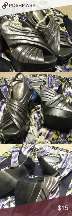 """Wild Diva silver platform slingback sz 8 These beauties are so versatile, perfect for dinner party or disco! Silver vegan leather,  4.5"""" heel on 1"""" platform. Gently loved, no major flaws, minor scuffs on the heels. If these were my size, you would NOT be looking at them! Wild Diva Shoes Heels"""