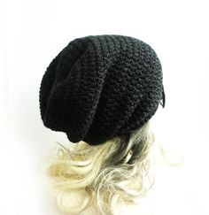 70a33983ff5 Black Beanie Slouchy Beanie Charcoal Gray Crochet Slouch Hat Baggy hat Mens  Womens Teen spring winter