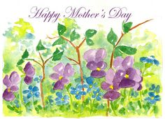 Happy Mother's Day Watercolor Violets Greeting Card