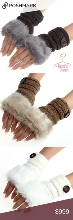 COMING SOON: faux fur fingerless mittens COMING SOON. DO NOT BUY THIS LISTING. LIKE FOR AN UPDATE OF WHEN THEY WILL BE AVAILABLE.  These trendy, cozy fingerless gloves/mittens will keep your hands toasty while allowing your fingers the freedom they need. Great as gifts! Available in four colors. Made of acrylic and faux fur. Coco's Closet Accessories Gloves & Mittens