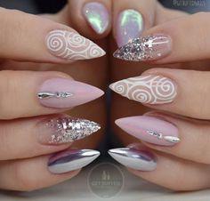 Top 30 Trending Nail Art Designs And Ideas - Nail Polish Addicted Glam Nails, Fancy Nails, Love Nails, Beauty Nails, Crazy Nails, Beauty Makeup, Fabulous Nails, Gorgeous Nails, Bridal Nails
