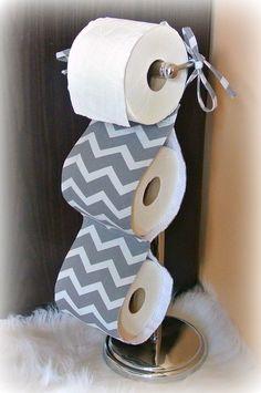 Fabric Toilet Paper Holder ~ Grey Chevron . Bathroom Accessories. Tissue  Holder. Housewares. Bathroom Decor. Contemporary Bathroom