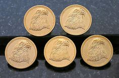 """5 Patriotic American Bald Eagle Buttons 5 LG Brass Eagle Buttons Detailed 7/8"""""""