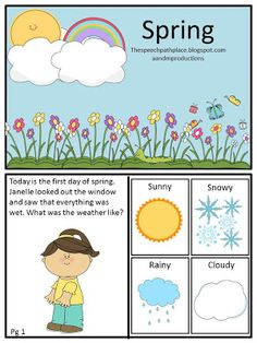 """Spring themed mini-book. Targets inferences and """"wh"""" questions. A great activity for Pre-K and elementary school children!"""