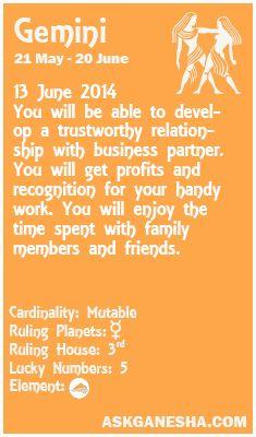 Gemini Daily horoscope for 13th June 2014.