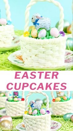 Easter Basket Cupcakes Video Easter Basket Cupcakes – a cute and fun Easter dessert! Decorate jumbo chocolate cupcakes to look just like Easter baskets, and fill them with Easter candy! Cute Easter Desserts, Easter Cupcakes, Easter Cookies, Easter Treats, Easter Recipes, Bunny Cupcakes, Easter Food, Cupcake Videos, Cupcake Recipes