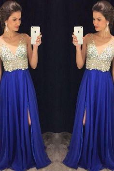 Royal blue chiffon prom dresses v-neck beaded bodice formal dresses APD1641