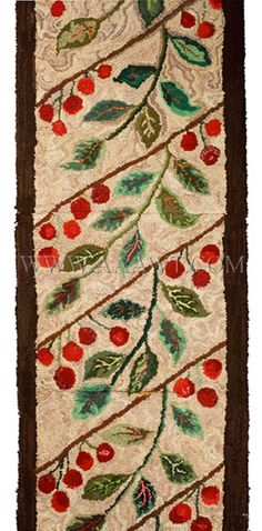 Antique Hooked Rug, Runner, Cherry and Leaf Motif, close up view