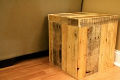 Reclaimed Pallet Wood Furniture - Storage Cubed Ottoman - Natural Tones