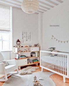 modern nursery | striped ceiling
